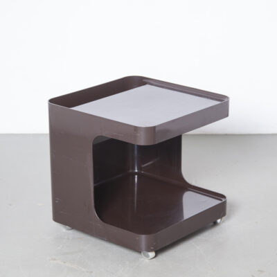 GAME articolo 1030 Marcello Siard Collezoni Longato Padova Italy Side-table Minibar magazine rack stand trolley bar table chocolate brown plastic fantastic space age wheels compartment wine bottles anti-static Novodur Bayer coffee 1970s seventies