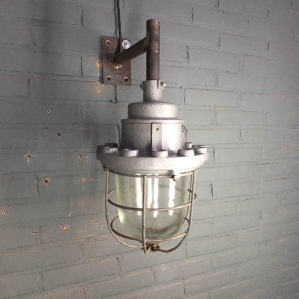 raw wall lamp, industrial cagelamp, factory bullseye