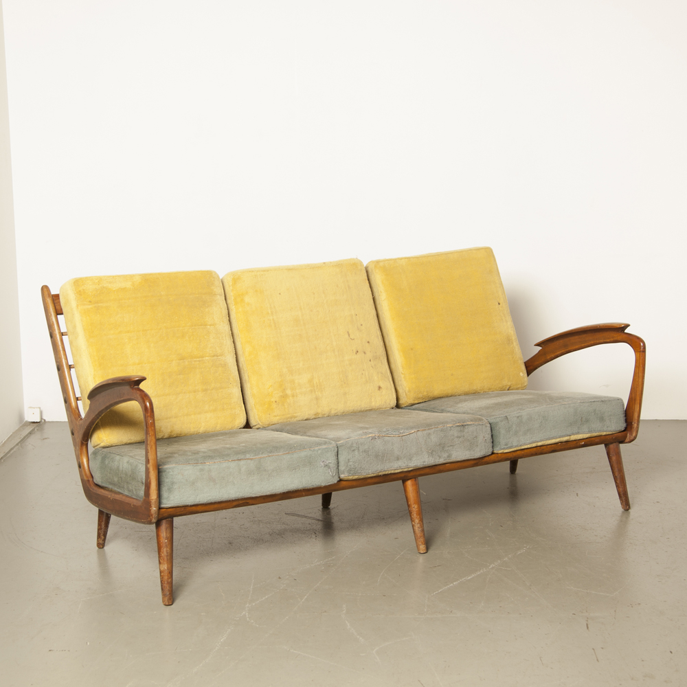 Couch Sofa De Ster Gelderland Dutch design open sides sculptural armrests boat shaped tension spring original reversible cushions vintage chair retro 1950s B. Spuij's 50s fifties