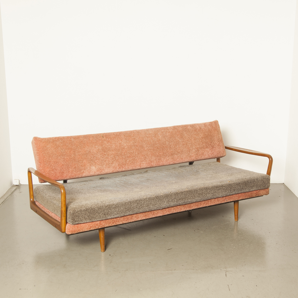 Sofa bed as-is for upholstering lounge couch tilts forward sleep solid blond wood armrest zigzag springs steel frame vintage retro 50s 60s 1950s 1960s fifties sixties secondhand