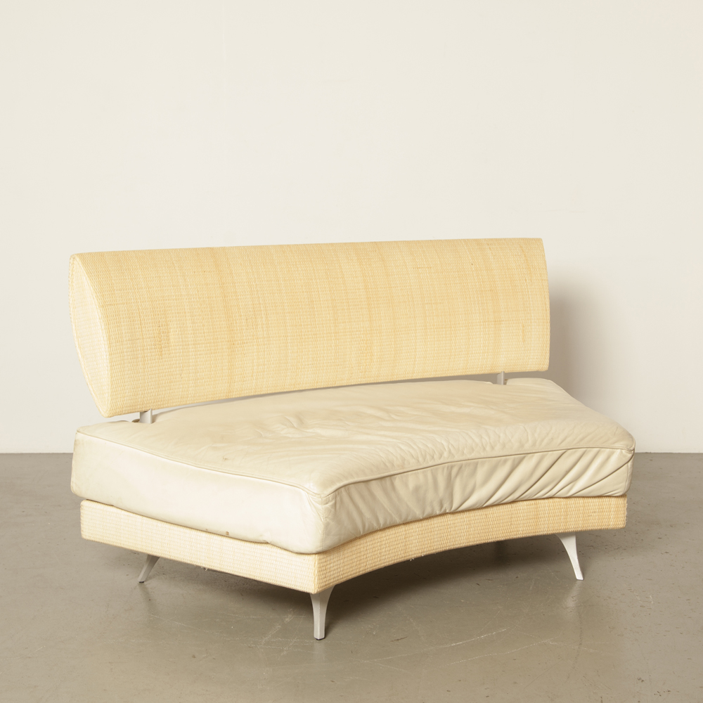 Mutabilis sofa couch Giuseppe Viganò Bonacina Pierantonio Italy sharp bend wicker mat back beige cream leather seat cushion linkable connectable secondhand design 1990s