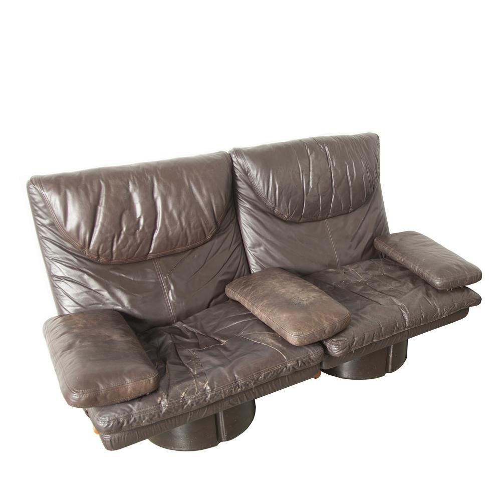 나는 Poltronibili Con Bracciolo Ammannati Vitelli Comfort Italy 175 시리즈 소파 소파 안락 의자 라운지 라운지 유리 섬유 가죽 쿠션 원래 우주 시대 이탈리아 현대 70 년대 XNUMX 년대 갈색