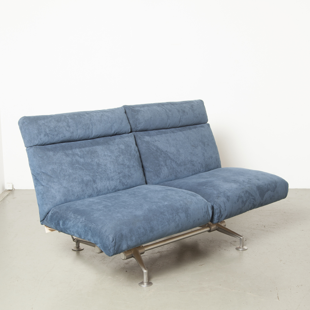 happyhour sofa couch Andreas Störiko B&B Italia reclining lounge twoseater blue suede cushions birch plywood back aluminum base arms flexible joints design Italian modern