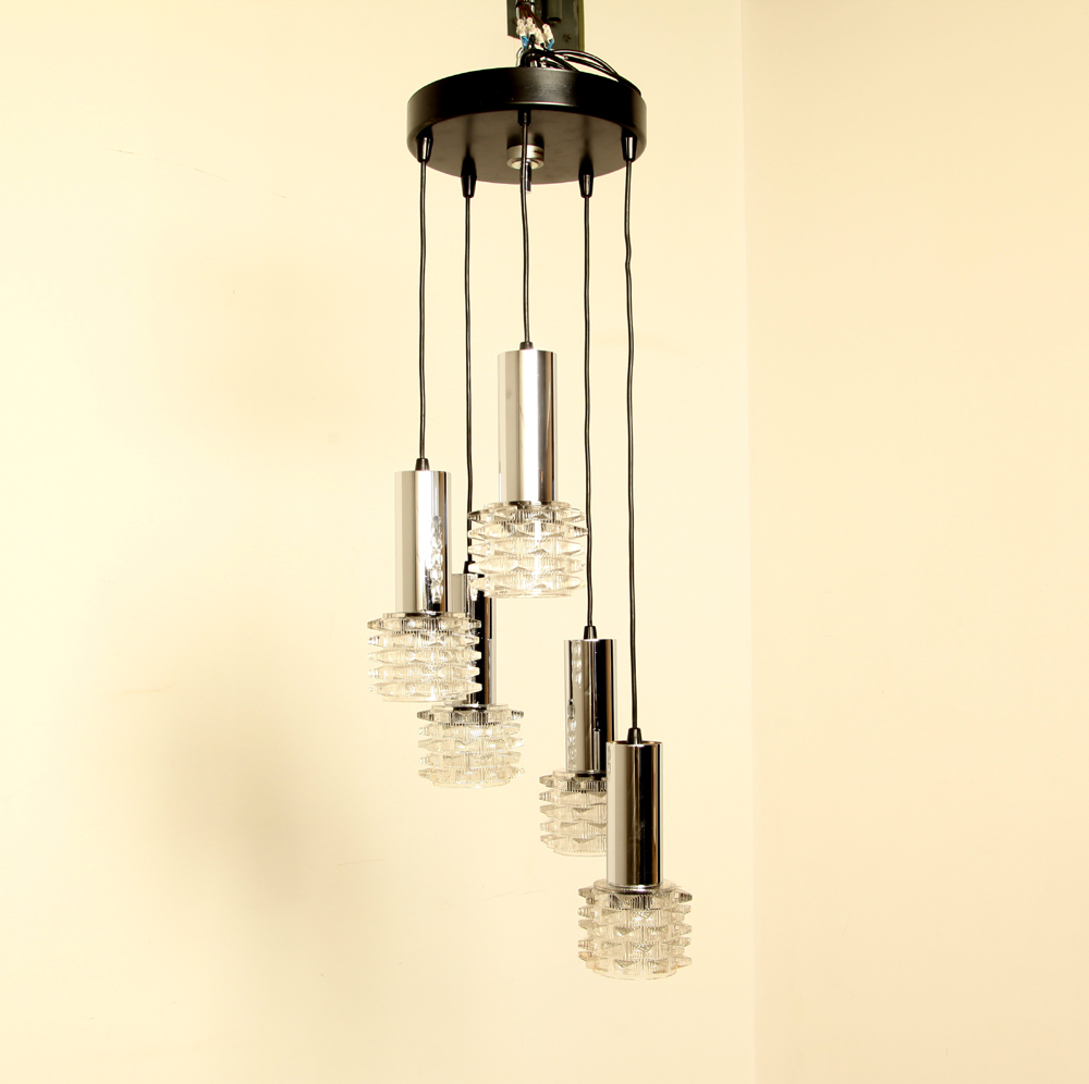 Hanging lamp-5-glass-lamps-Lamp-5-staggered-heights-decorative-glass-spines-chrome-tubes-E27-fitting-fitting-wiring-checked-replaced-Vintage-Italian-1960s