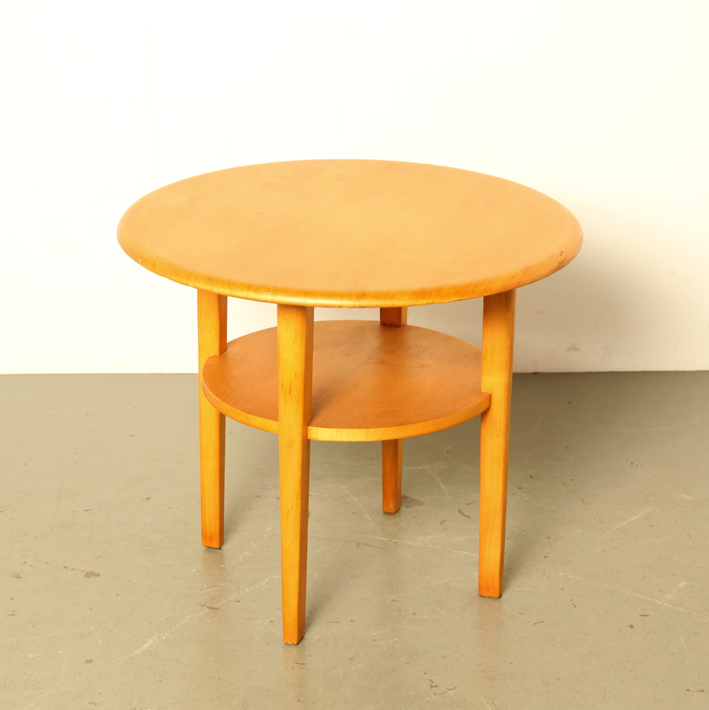 Side table-2 levels-Oak-veneer-table-vintage-mid-century-Scandinavian