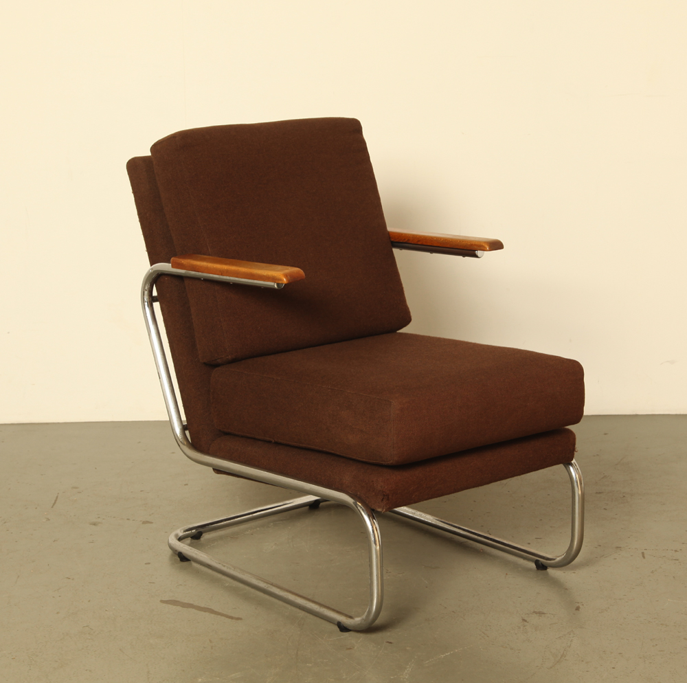 Tubular frame-armchair-high-seat-brown-upholstery-wooden-armrests-straight-Marcel-Breuer-style-used-condition-vintage-mid-century