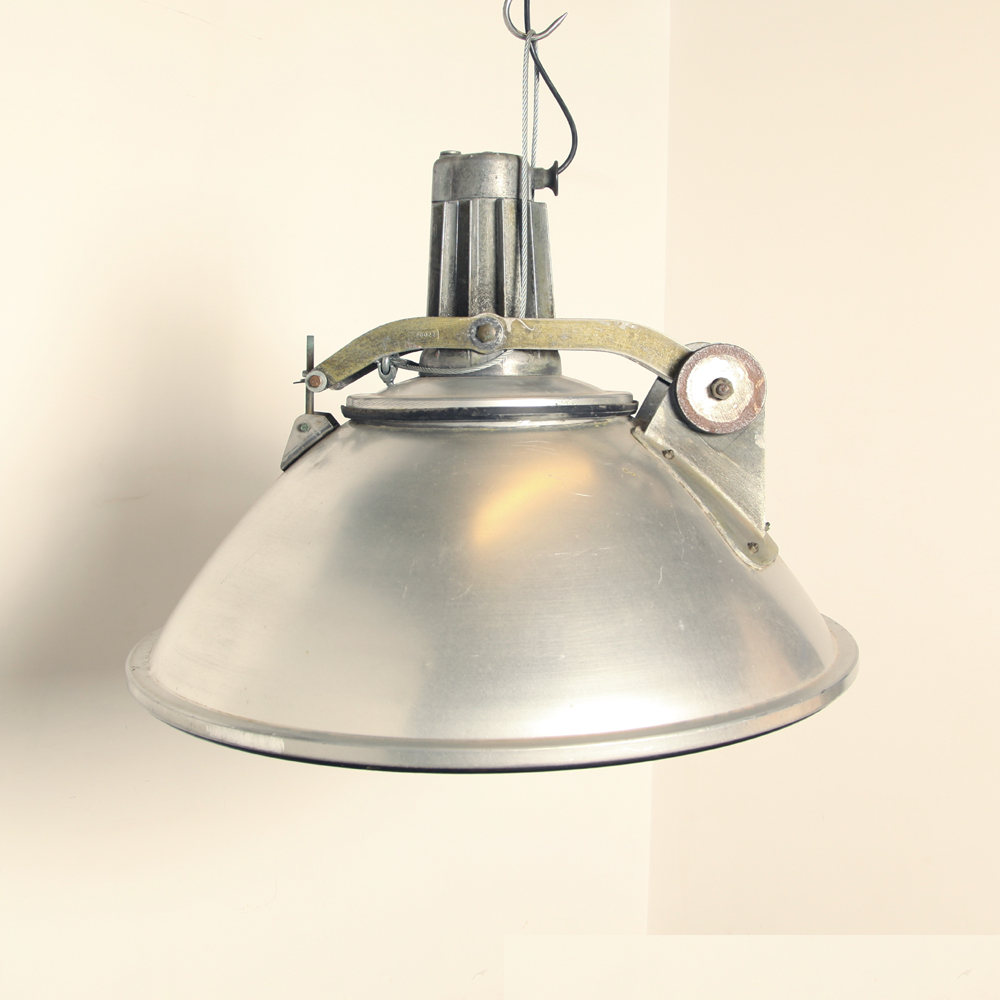 Olympic-Stadium-lamp-Amsterdam-Philips-1960s-industrial-hanging-lamp-gray-converted-E27-fitting-replaced-Industrial-vintage