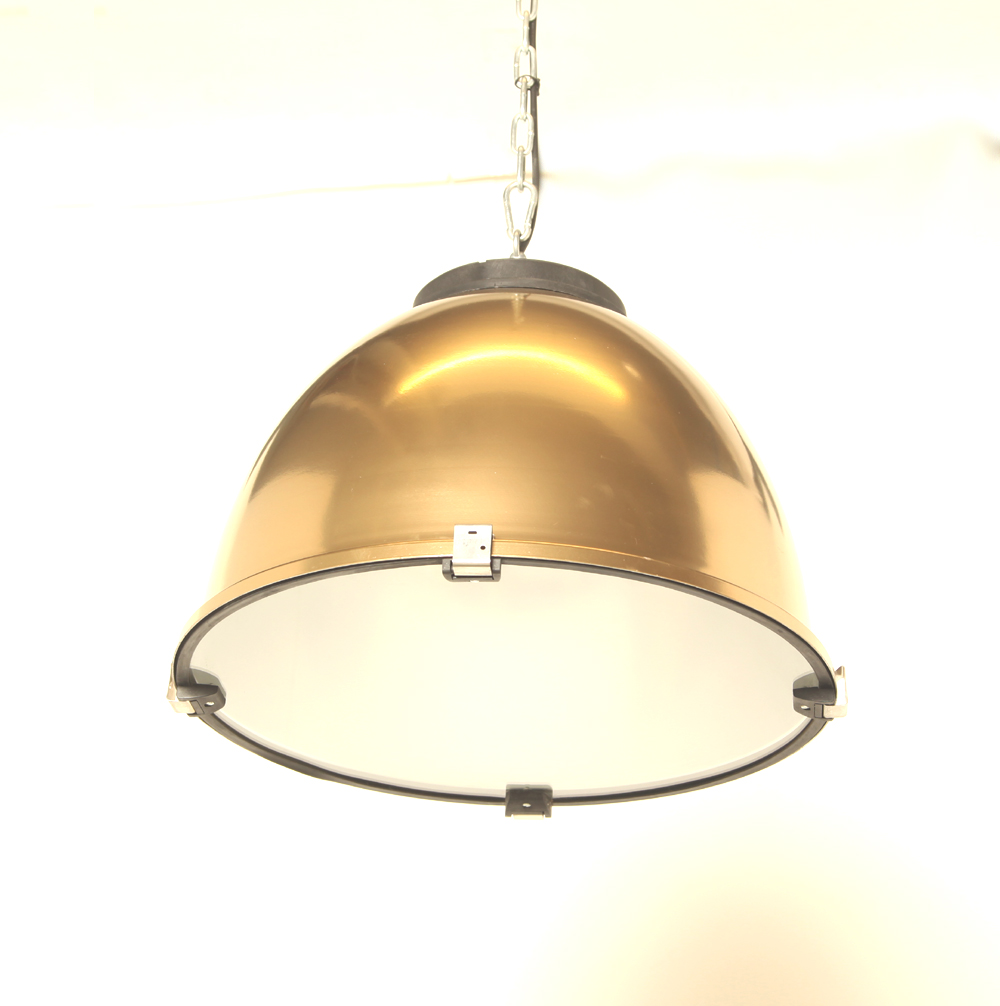Aluminum-hanging lamp-brass-lampshade-glass-Restored-new-hanging system-industrial