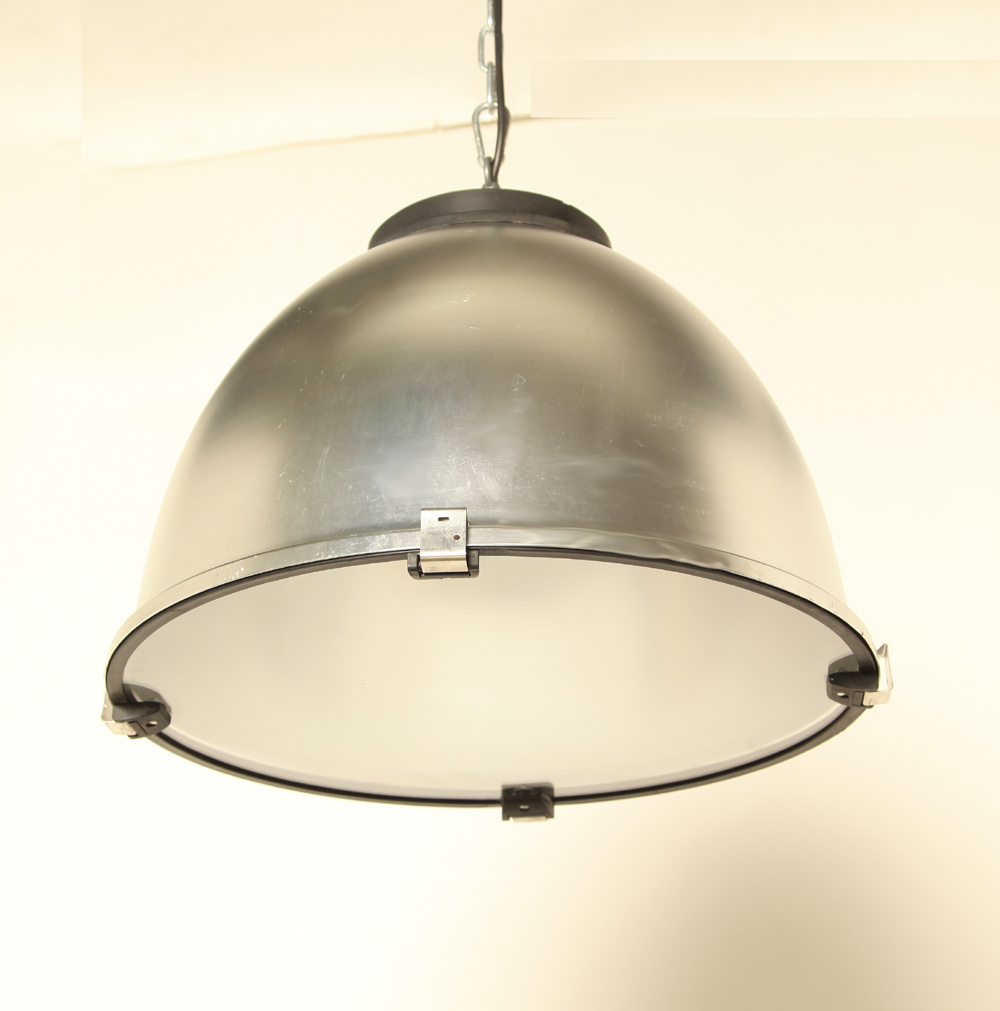 Aluminum-hanging lamp-Silver-lampshade-glass-Restored-new-hanging system-industrial