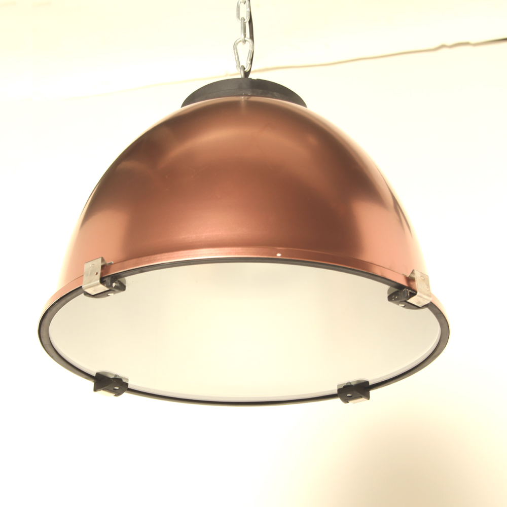 Aluminum-hanging lamp-copper-lampshade-glass-Restored-new-hanging system-industrial