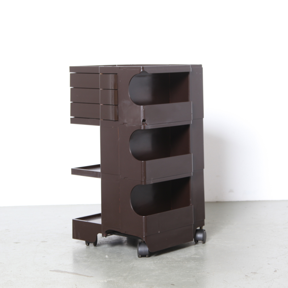 Boby-3-Portable-Storage-System-Joe-Colombo-Bieffeplast-Italy-1969-taboret-ABS-plastic-brown-painted-damage-midcentury-modern-vintage