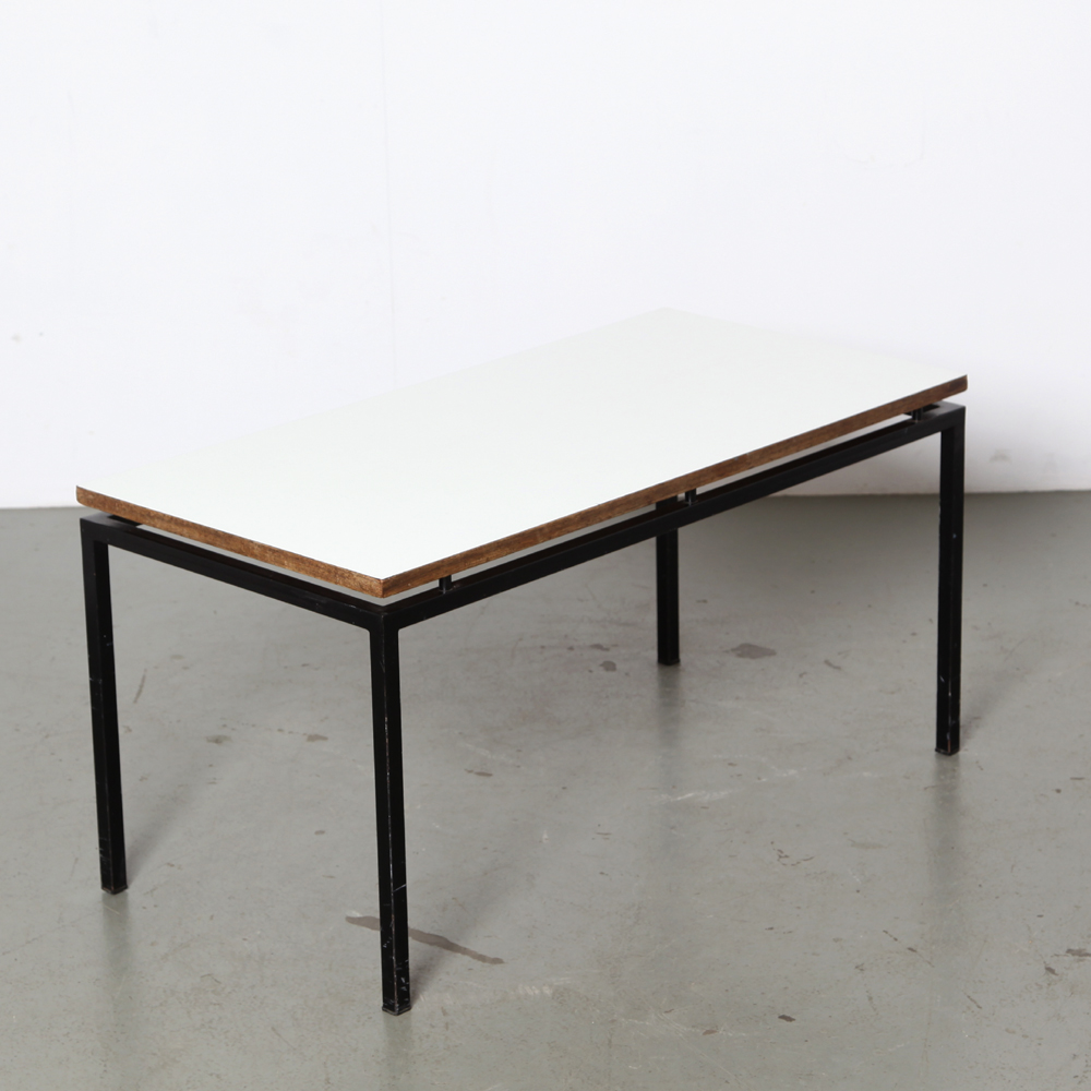Coffee table-50s-black-steel-frame-wooden-top-white-formica-top-pastoe-style-Vintage-mid-century