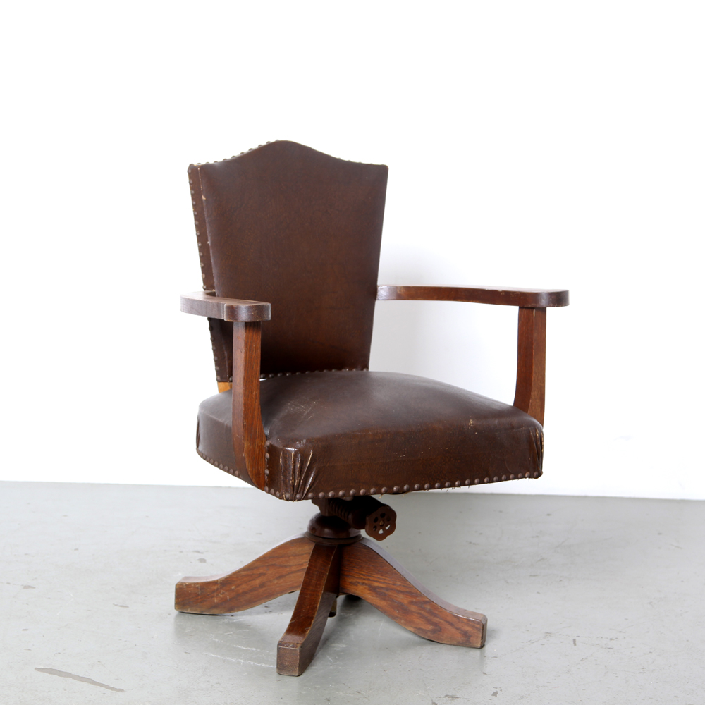 Wooden desk chair-Hillcrest-bankers-chair-England-1930s-solid-oak-legs-armrests-Height-adjustable-brown-leather-seat-office-vintage-antique