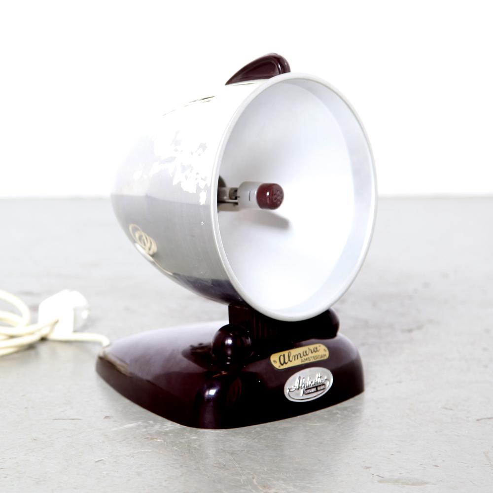 Alpinette-Hanau-UV-лампа-настольная лампа-КВН-Стимпанк-1950-е годы-алюминий-бакелит-альмара-амстердам-винтаж-баухаус