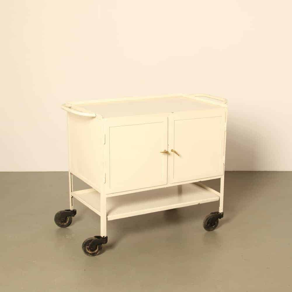 Mobile cabinet steel storage cupboard rubber swivel castors Trolley Tools Cart Medical tool Doctors 1950's vintage retro brocante
