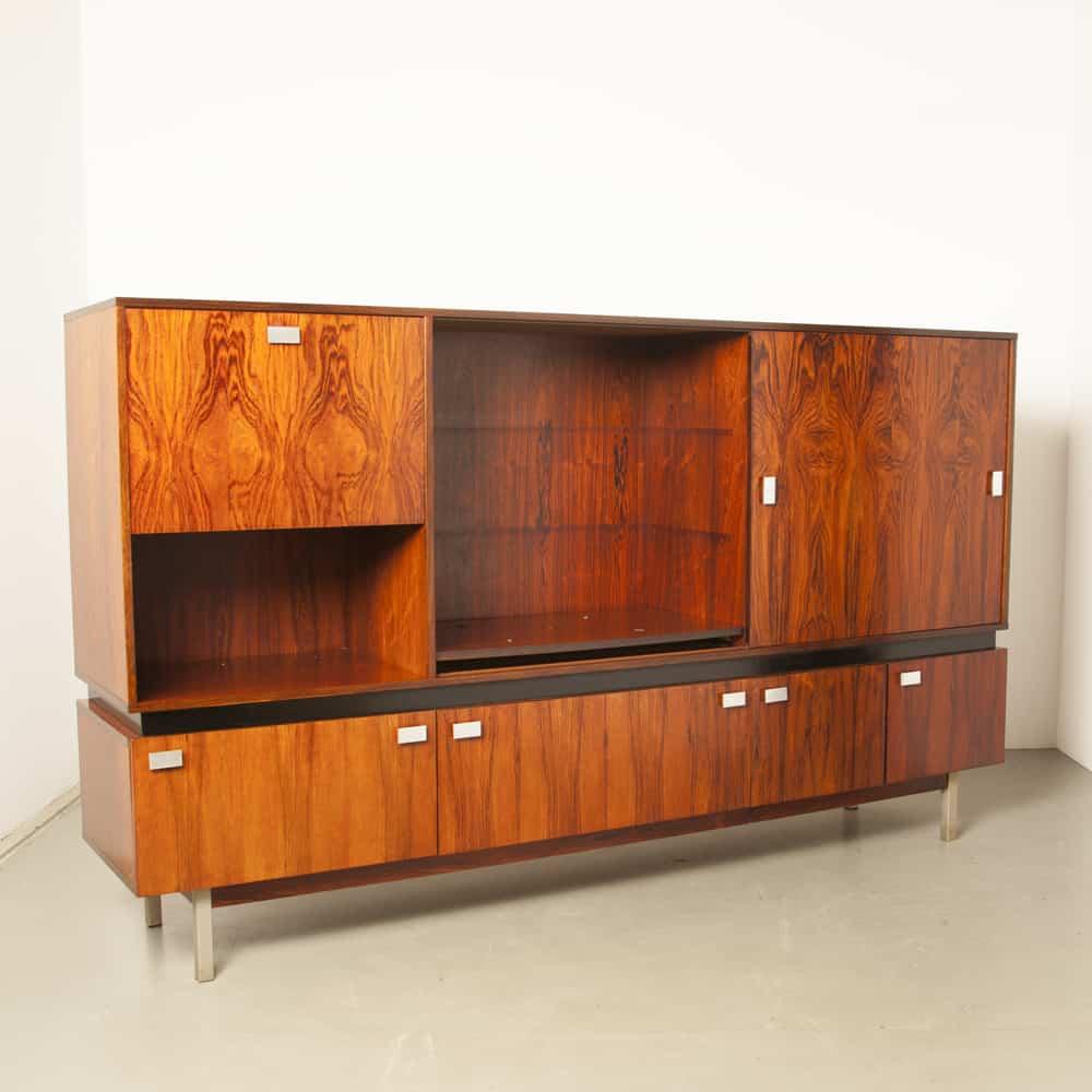 Morelisse Highboard Rosewood veneer large sideboard bar wall unit cabinet cupboard buffet 1960s sixties vintage retro midcentury modern Scandinavian