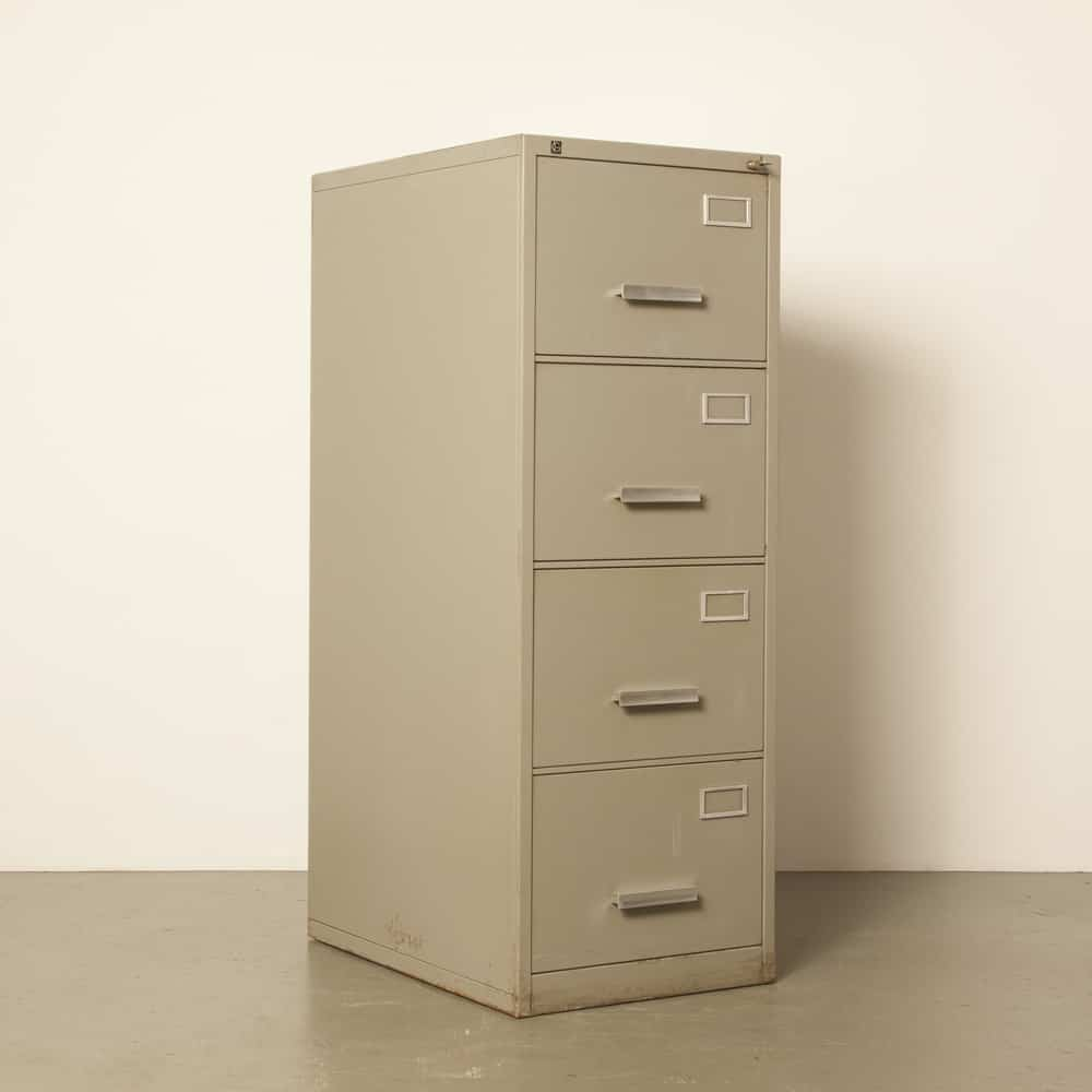 Gispen 7800 series kleuro archive filing cabinet 4 drawers drawer Storage Office furniture equipment design grey industrial vintage retro 60s 1960s sixties