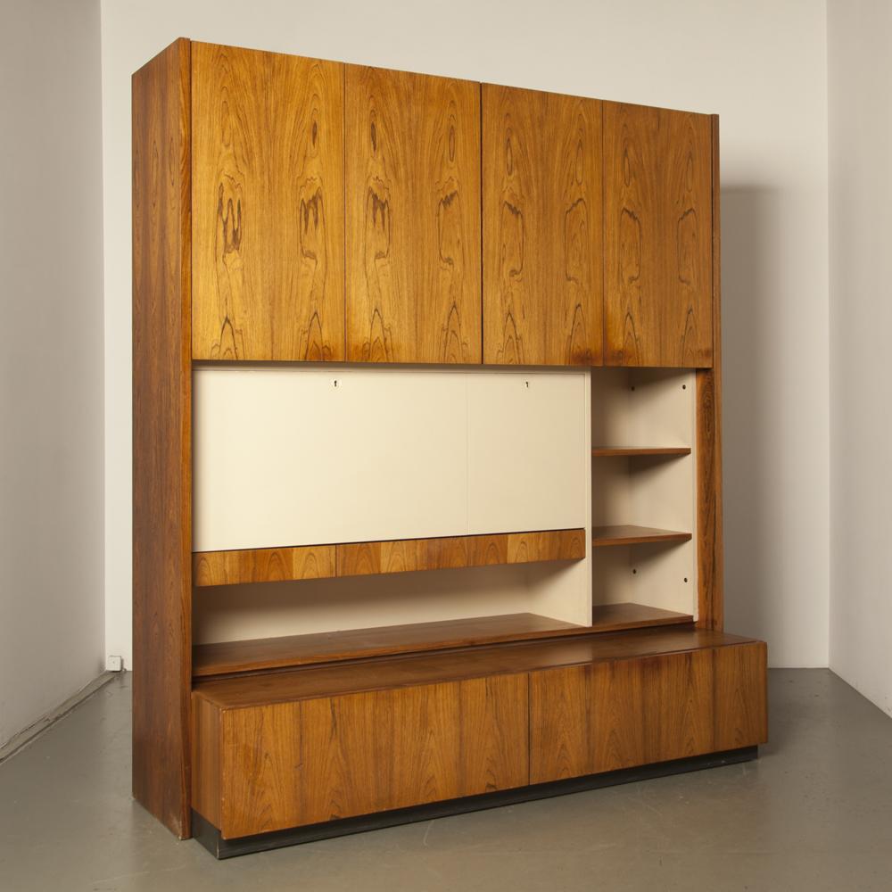 V-Form壁柜高柜比利时Oswald Vermaercke秘书柜储物柜搁板货架前抽屉书配红木贴面1960年代复古XNUMX年代