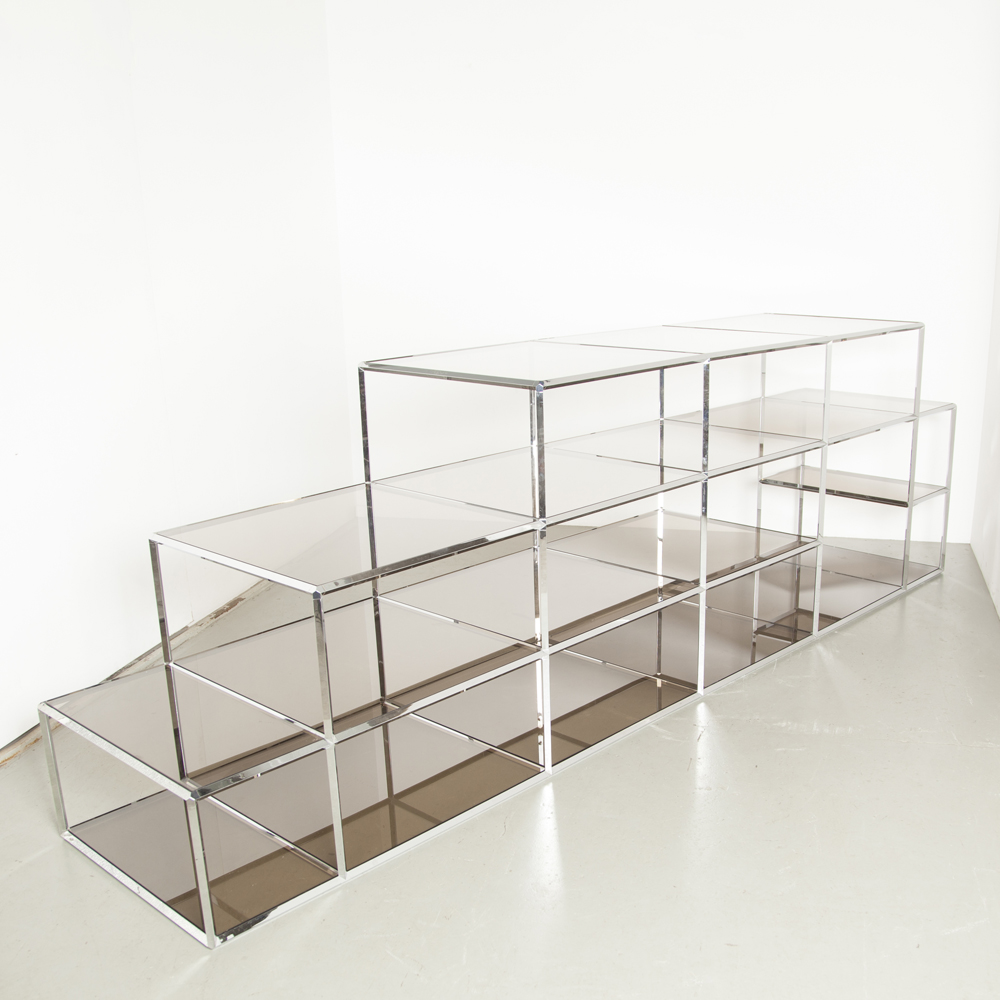 Vitra modular shelving system etagere bookcase shop display minimalist modernist chrome square tube connectors smoked glass shelves freestanding demountable vintage