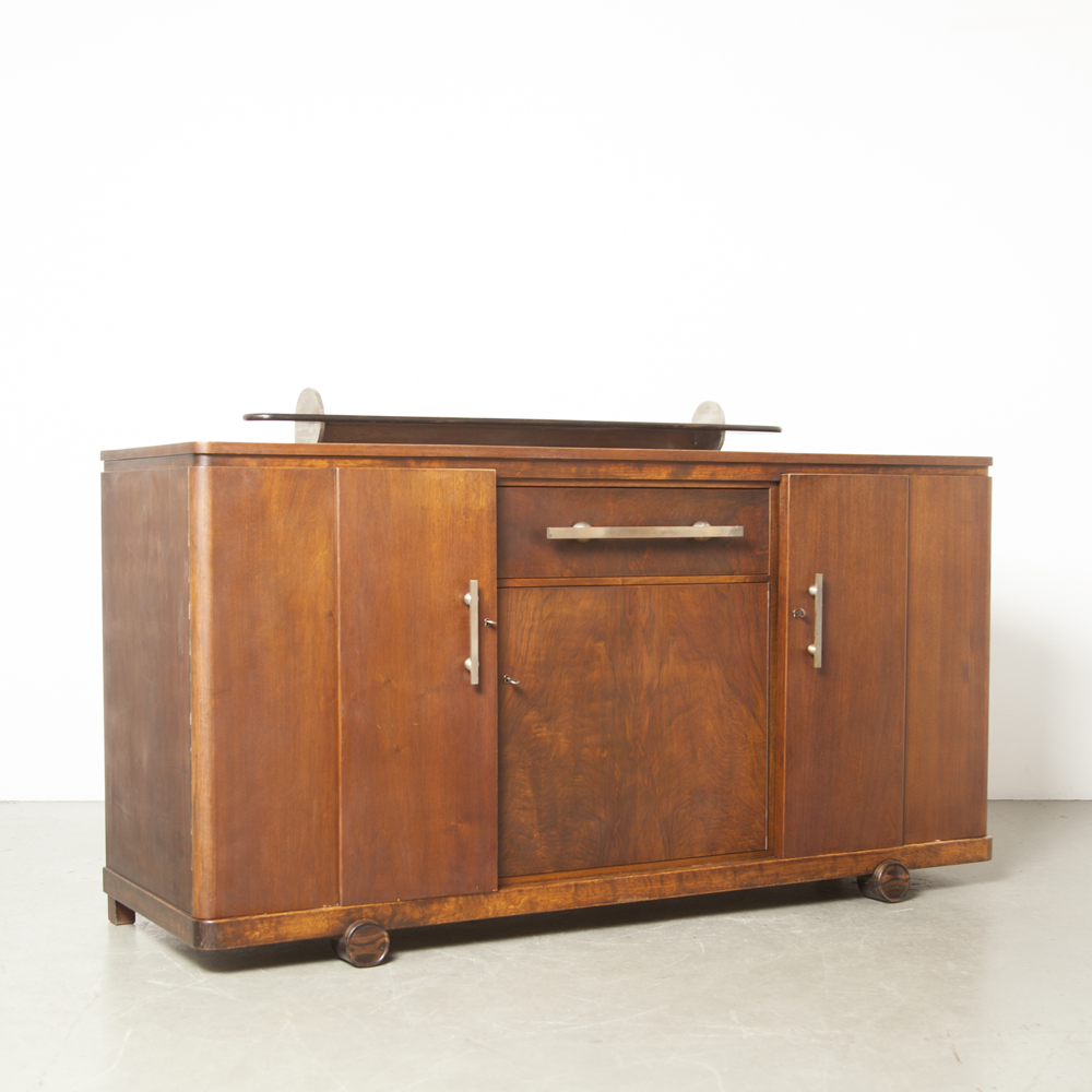 'T WoonHuys Amsterdam School Buffet credenza cabinet cupboard dresser sideboard Art Deco original marked key drawer door veneer solid shelf vintage retro 1930s Dutch design
