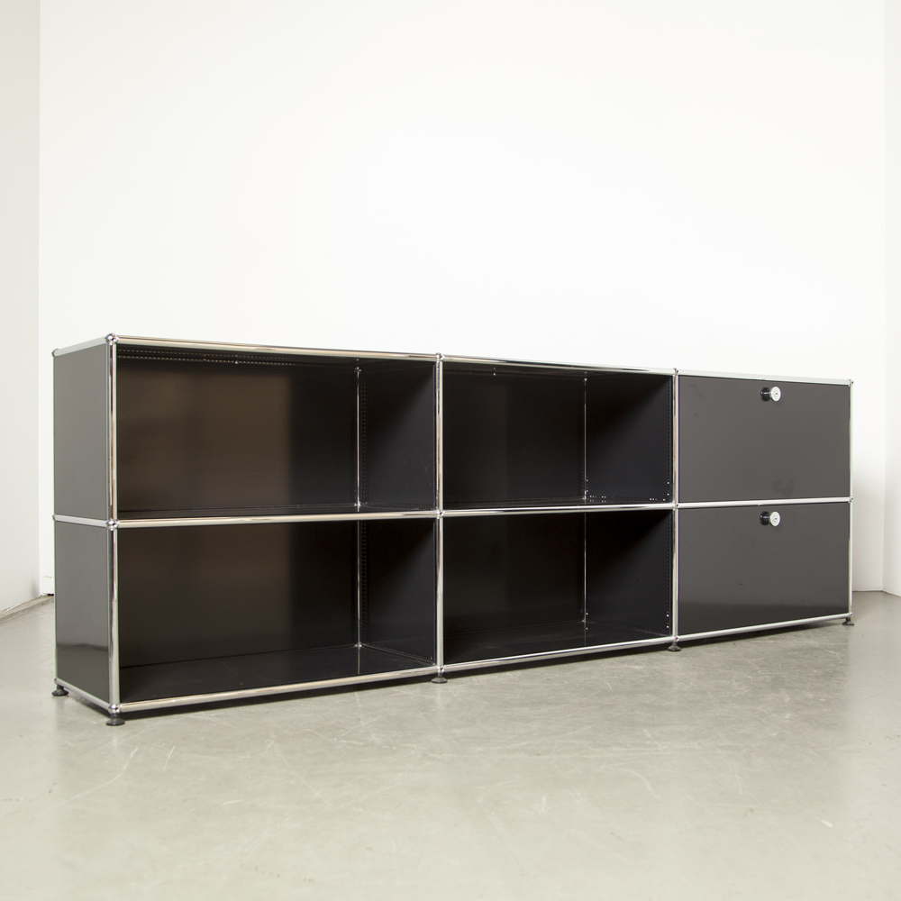 USM Haller System cabinet 2x3 Paul Schaerer Fritz Haller file filing drawer office wall unit cupboard credenza modular black panels chrome tube connectors vintage retro 60s 1960s sixties