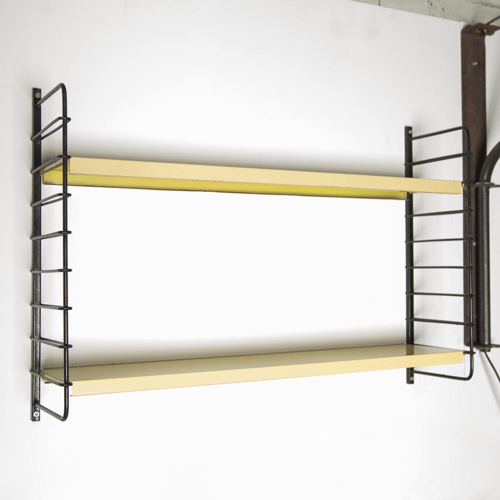 Tomado Wall Rack Adriaan Dekker black wire-steel ladder cream soft yellow folded sheet metal shelf modular variable bookshelf unit DutchDesign vintage retro 1950s fifties 50s