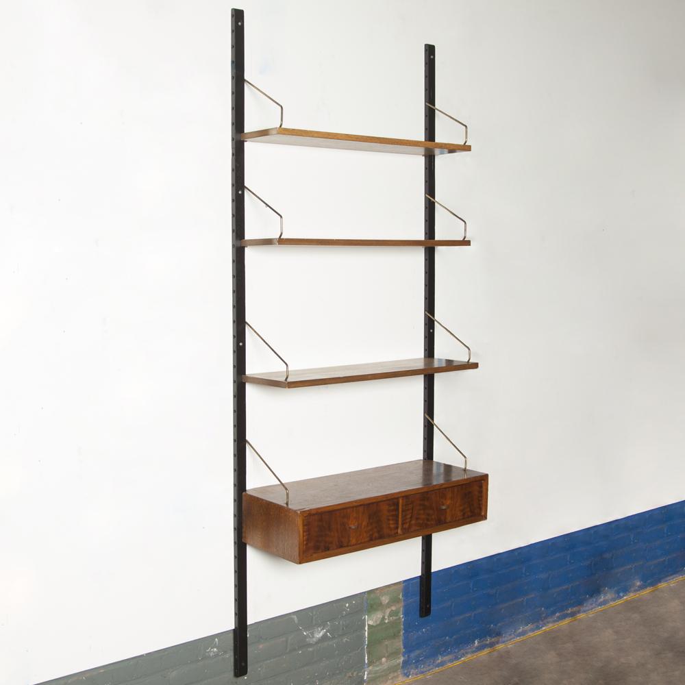 Royal System single Poul Cadovius Cado Denmark wall unit black uprights brass shelf hangers dark veneer drawer cabinet 1960s sixties vintage retro design classic modular bookcase