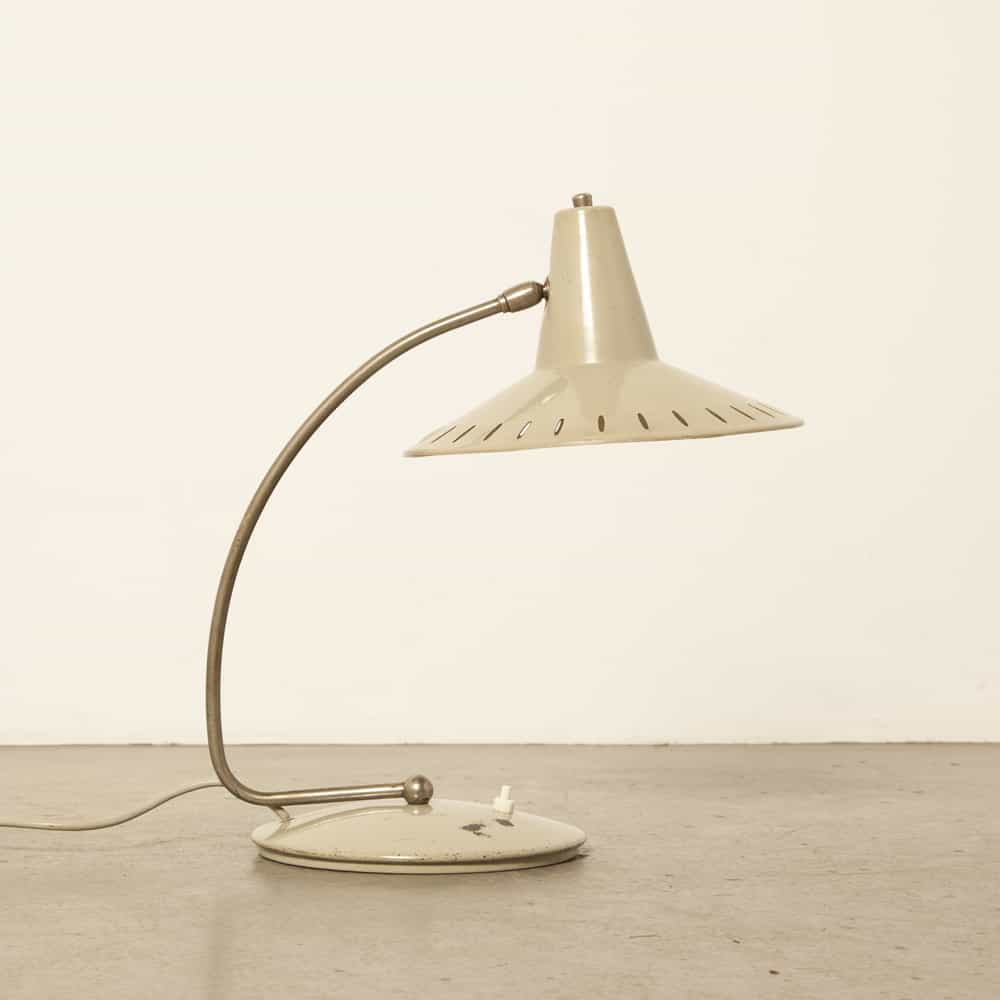 J Hoogervorst Anvia Almelo Netherlands desk lamp sun series gray metal 1950s fifties vintage retro industrial