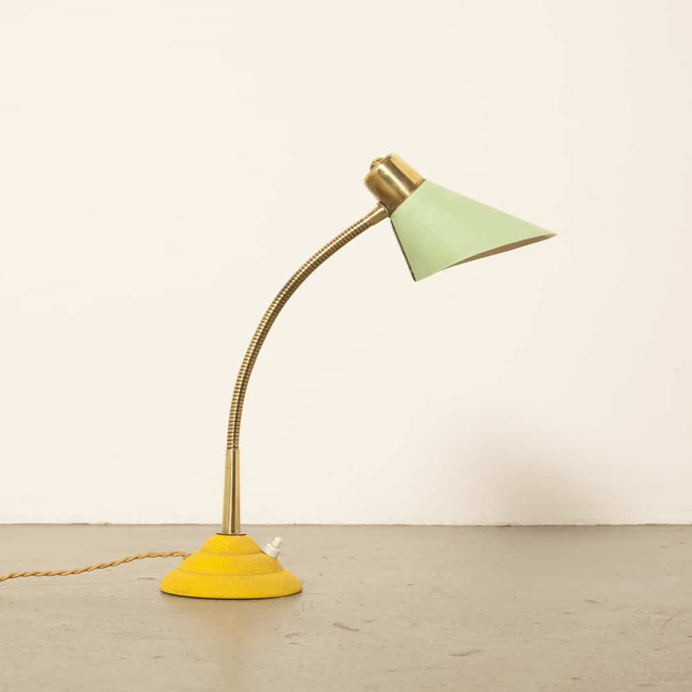 Fifties 1950s Italian desk lamp brass green cap yellow foot vintage retro brocante