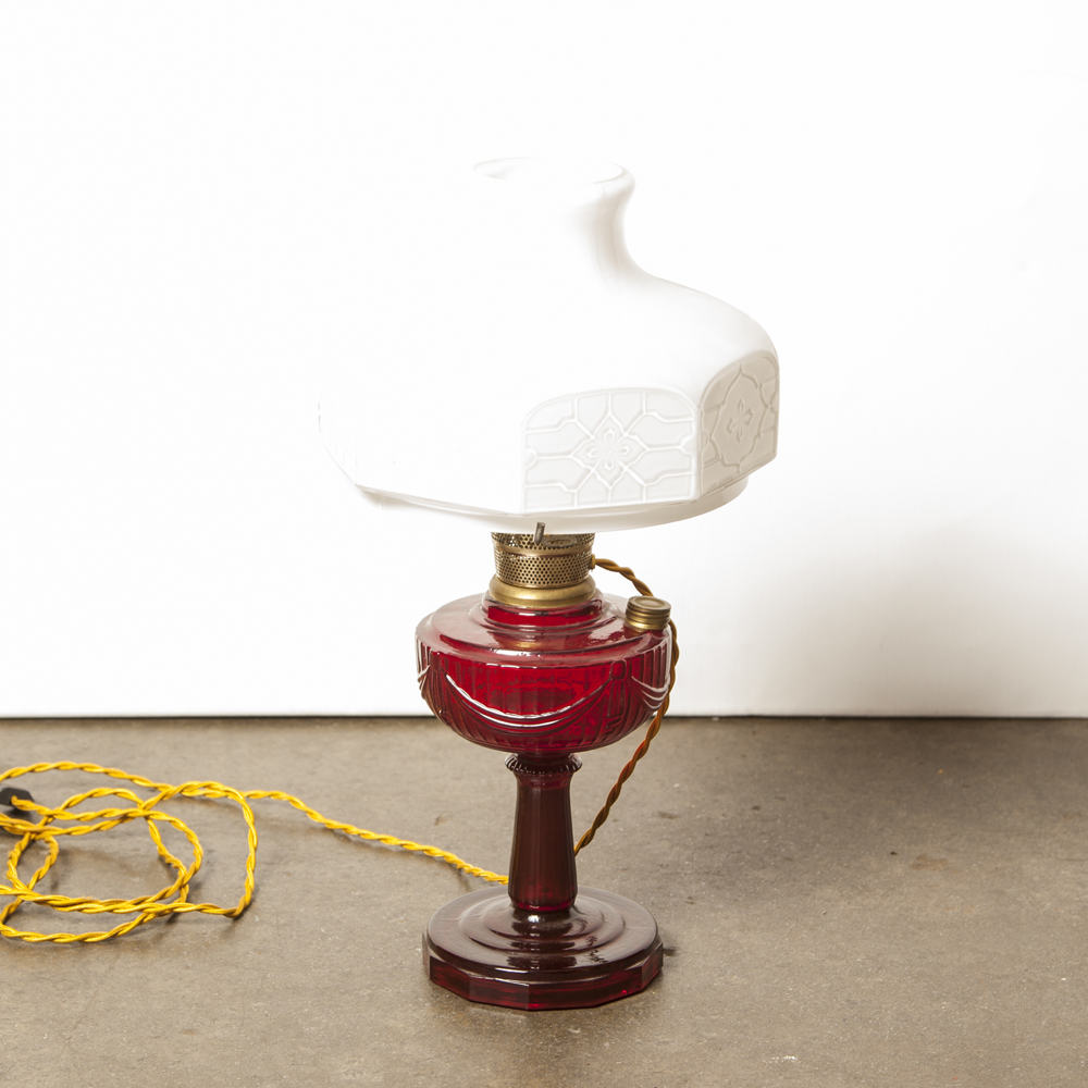 Ruby red Aladdin Table Lamp tall Lincoln Drape amberina foot white milk glass Chinese Chippendale shade model 301 oil light electrified Mantel company antique opal brass