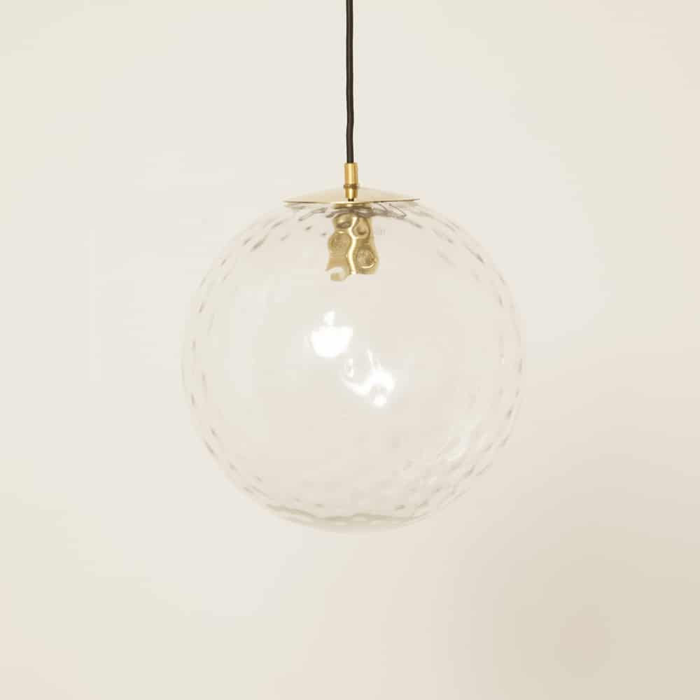 Hanging lamp light pendant own production style Raak brass chrome fitting top plate hand crafted glass dents bubbles enlarged golf ball design