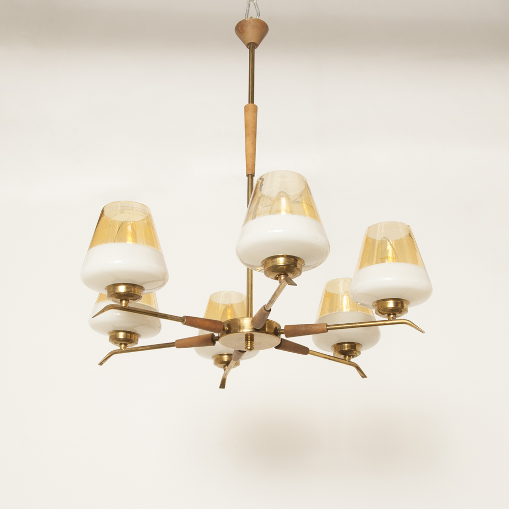 Spanish six-armed hanging lamp chandelier white and gold colored murano glass solid teak brass pipes 60s 1960s sixties vintage retro E14 six arm