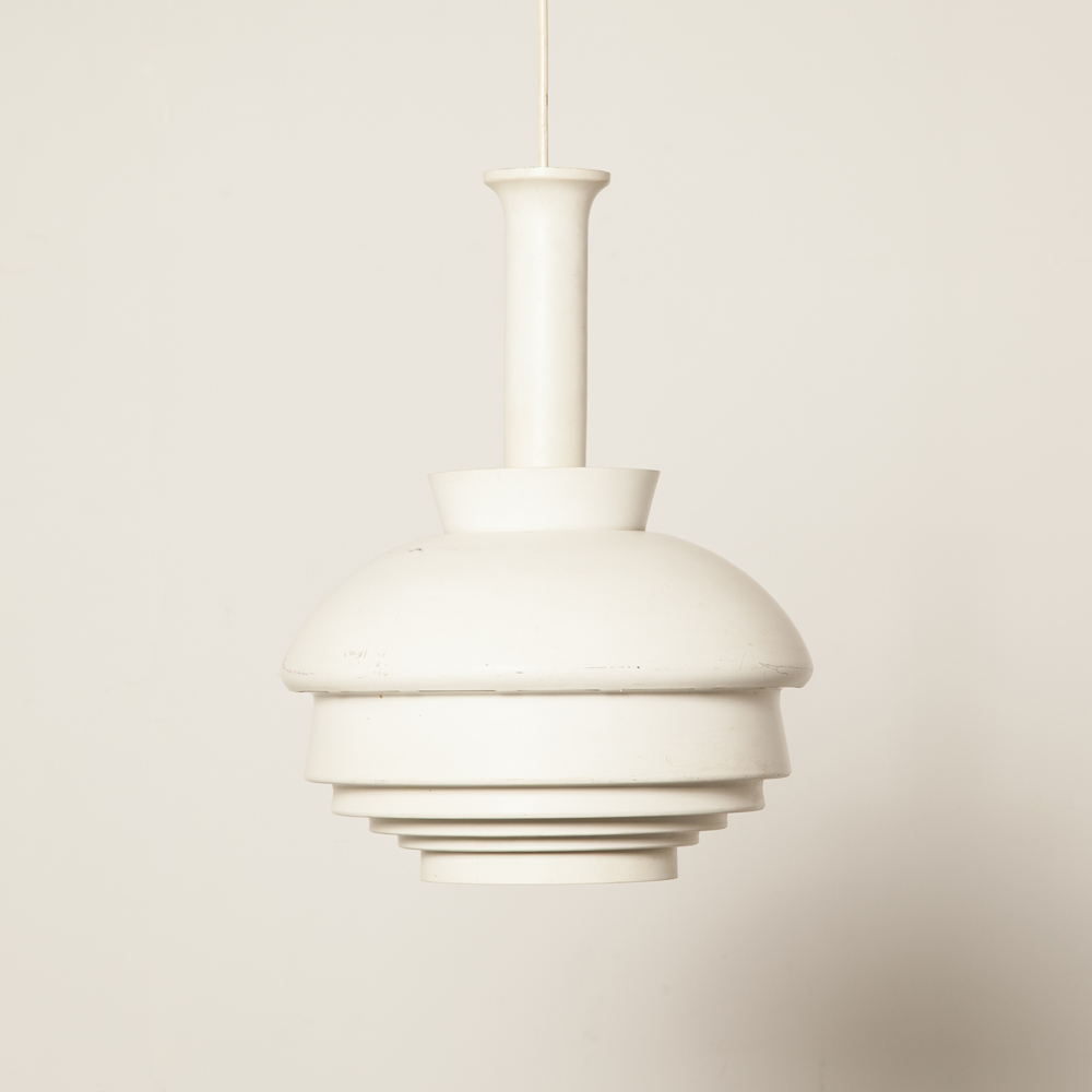 A335B hanging lamp pendant Alvar Aalto Artek Finland white patina pierced powder coated aluminum shade light labeled vintage retro Scandinavian midcentury modern 50s 1950s fifties
