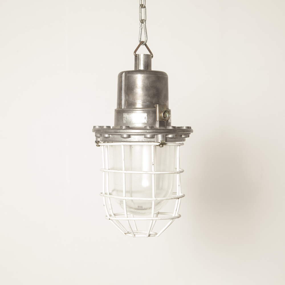 Hanging lamp industrial Bullseye Bolts light Bulgaria white cage aluminum E27 splash-proof cast housing thick pressed glass shade vintage retro rugged bulleye screw top