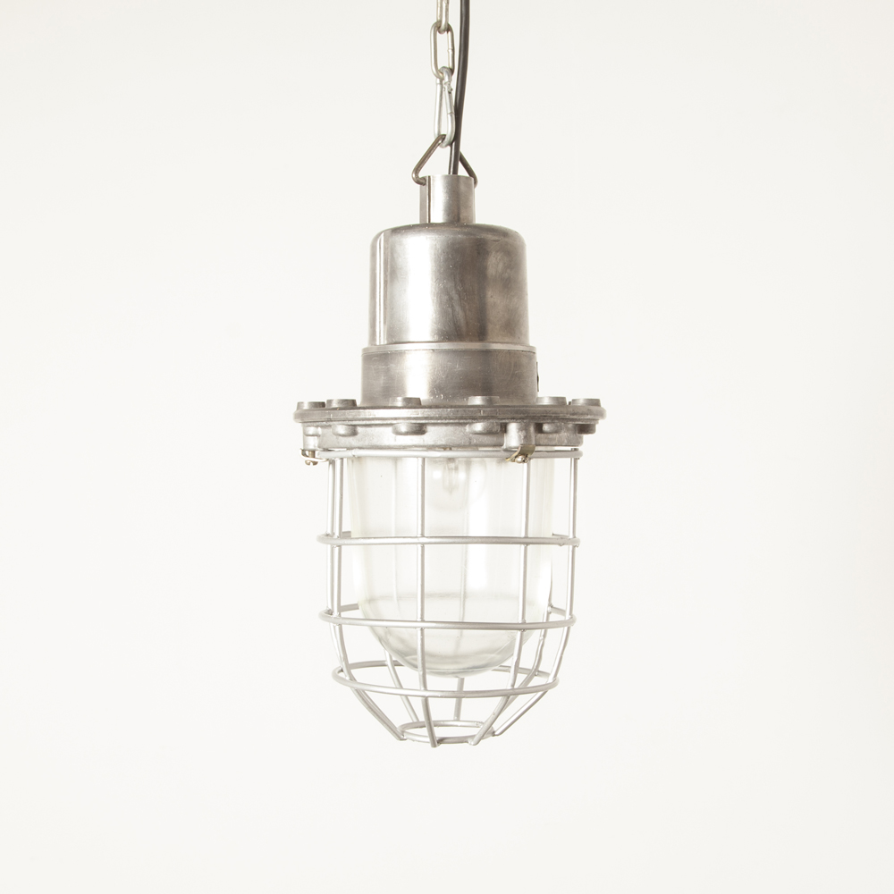 Hanging lamp industrial Bullseye Bolts light Bulgaria silver cage aluminum E27 splash-proof cast housing thick pressed glass shade vintage retro rugged bulleye screw top