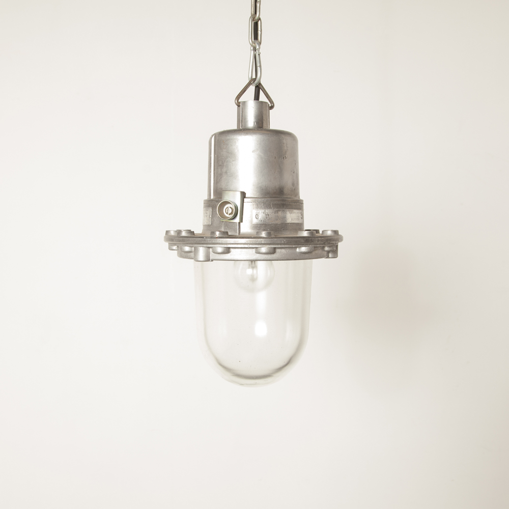 Hanging lamp industrial Bullseye Bolts light Bulgaria without cage aluminum E27 splash-proof cast housing thick pressed glass shade vintage retro rugged bulleye screw top