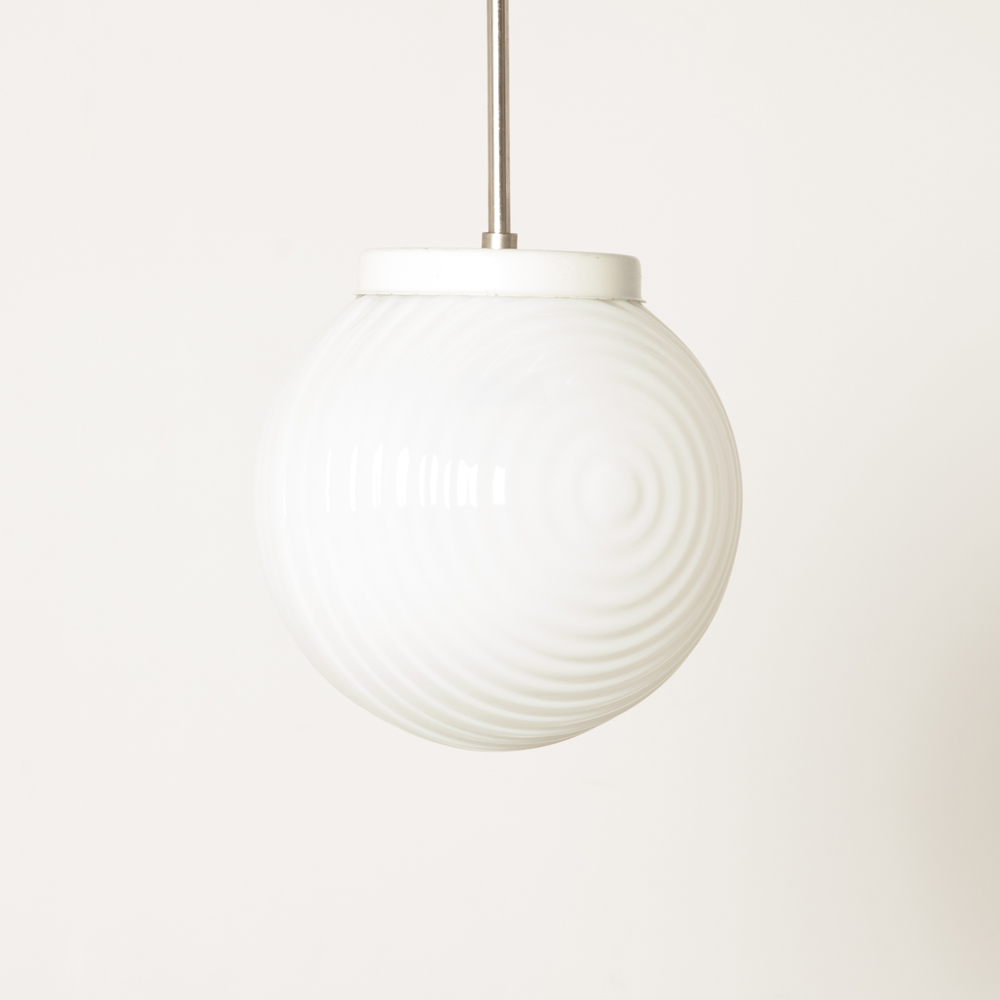 Opaline white glass Ball hanging lamp pendant circle structure milk glass Art Deco Slovakia lamp light Bauhaus E27 fitting vintage retro opal