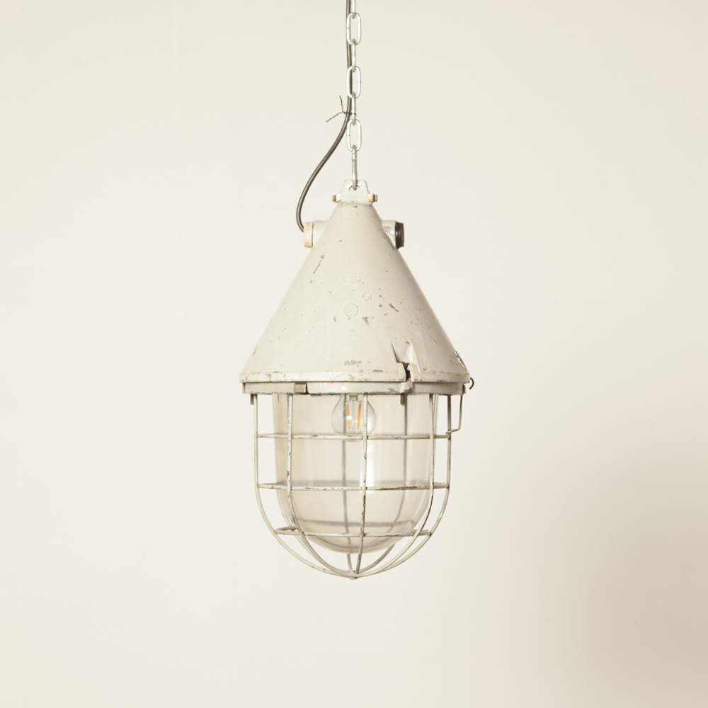Big Bull Pendant light DDR EOW lamp hanging cage industrial cast aluminum thick glass shade pressed vintage retro grey patina E27 mine splash-proof rugged safety