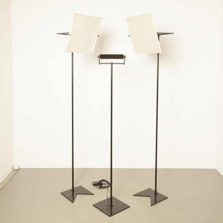 Swisslamps International Zurich floor lamp with standing reflector screen black functional adjustable vintage retro design set three light perspex halogen Switzerland 90s 1990s