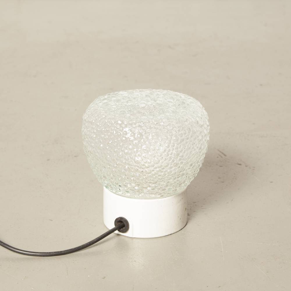 Clear Champagne Bubble Textured Shade White Porcelain lamp base DDR Bauhaus style surface mounted Wall Ceiling Light Vintage Industrial retro