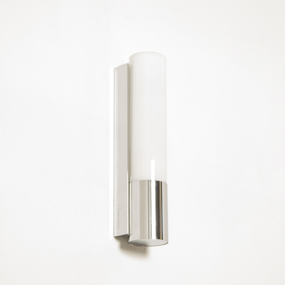 Wall lamp light model 7233 Glashütte Limburg Germany TC-D precise extruded polished chrome fixture milk three-ply opal glass threaded secondhand design modern contemporary