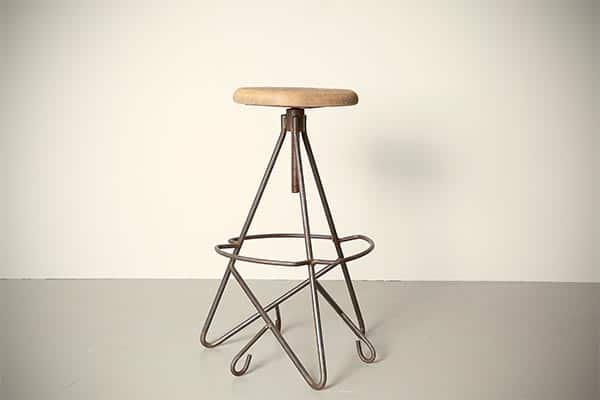 raw steel, industrial design, bar stool industrial