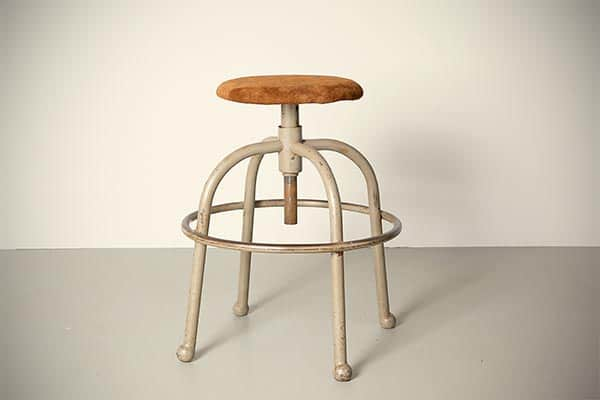 high industrial stool suede top