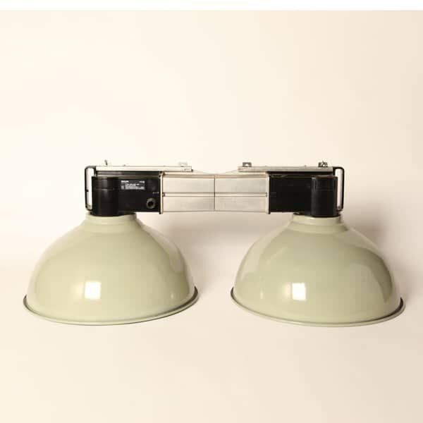 lámpara colgante industrial philips, pantalla verde,