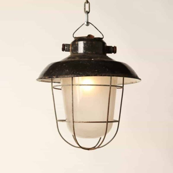 mine lamp, black enamel
