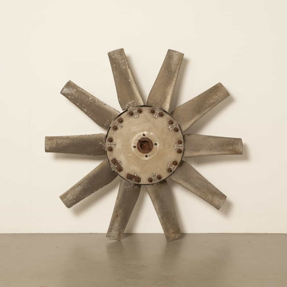 electric motor fan ventilator aluminum propeller industrial heritage tough industry factory vintage retro brocante art decorative wall decoration