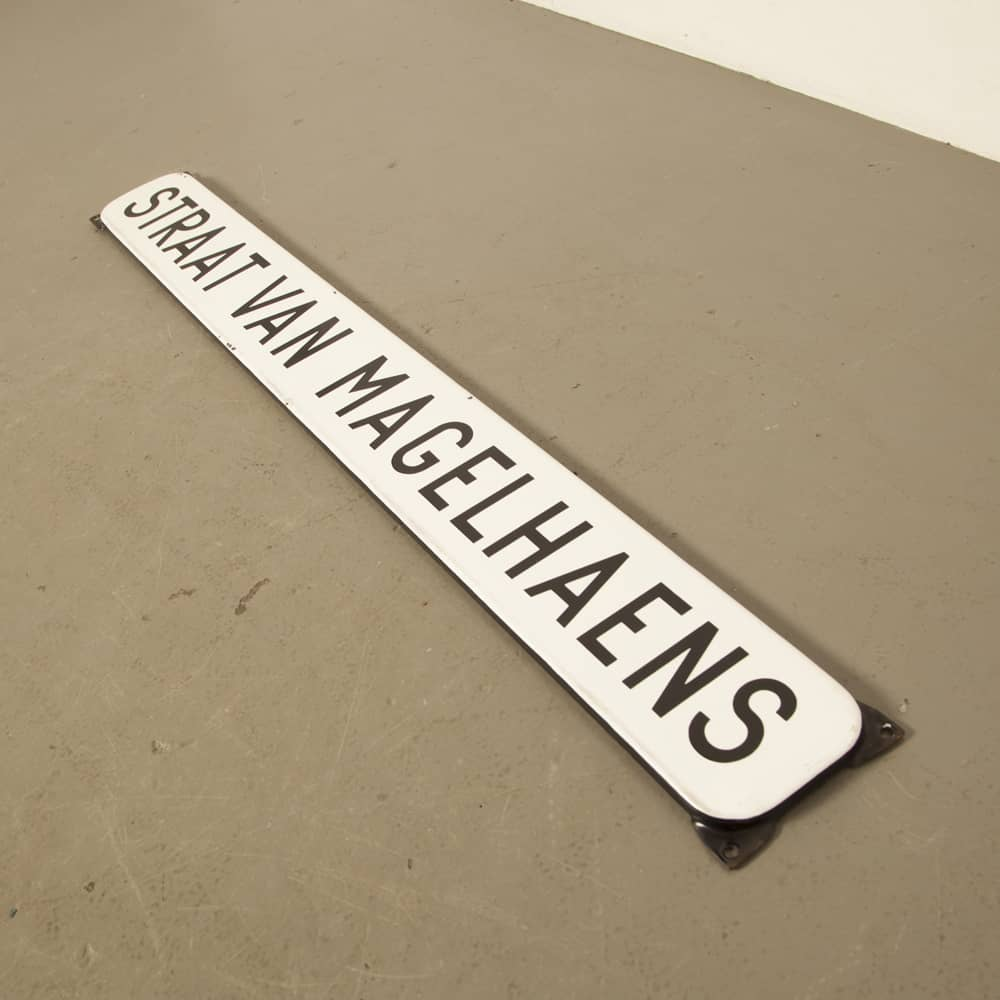 streetsign street of Magelhaens black white enamel industrial vintage retro brocante street name sign frame original authentic