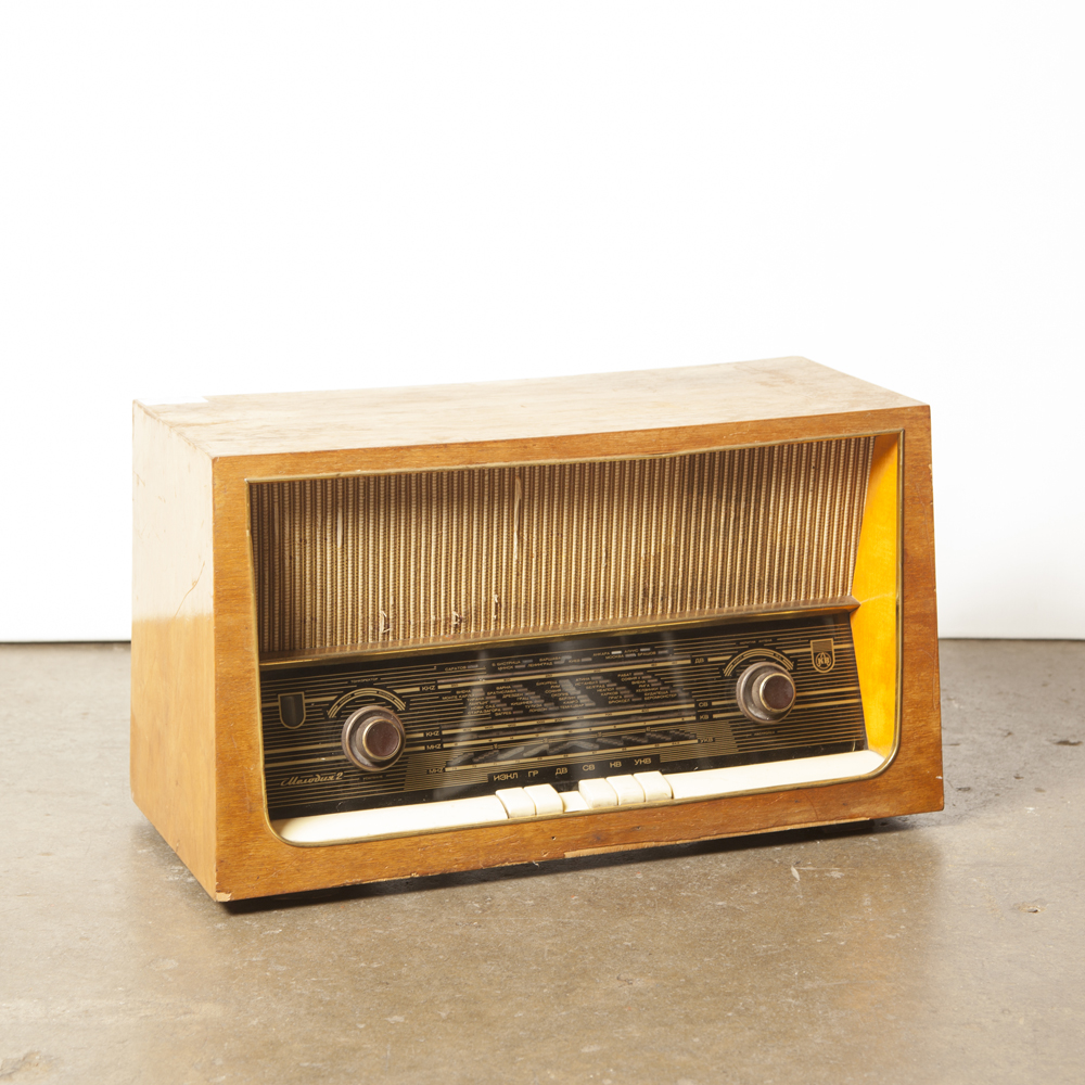 Tube Radio As-Is wood veneer cabinet decor piece original buttons vintage retro 1960s 60s sixties midcentury modern film TV props rental Kolster Brandes KB wireless