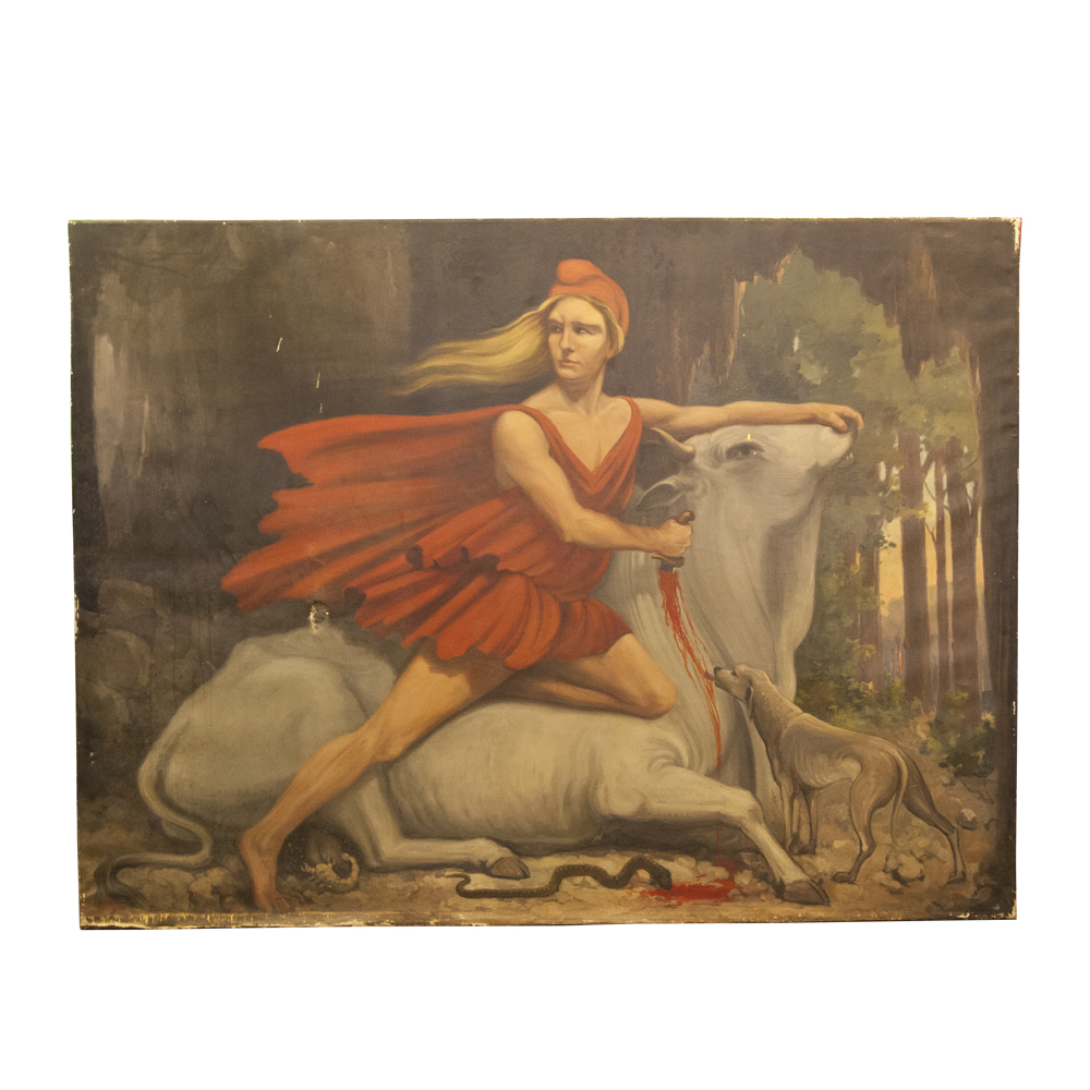 Tauroctony scene Mithras killing Bull oil painting ALB Hemelman Albert Dutch artist canvas Mithraic Mysteries Roman cult canine dog serpent scorpion forest vintage retro 1930s thirties
