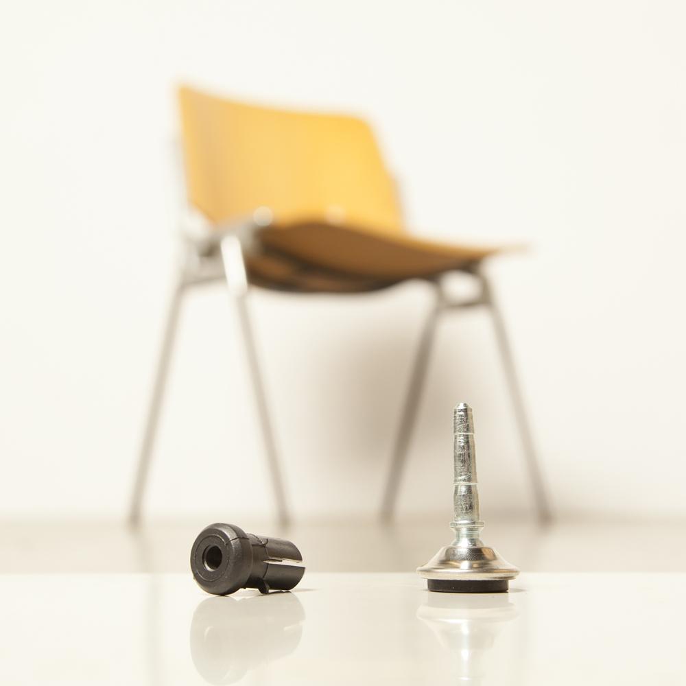 镀铬更换脚DSC 106 Castelli椅子脚底座可旋转倾斜软垫硬地板支撑轴衬套模块化堆叠Giancarlo Piretti意大利60年代1960年代XNUMX年代复古